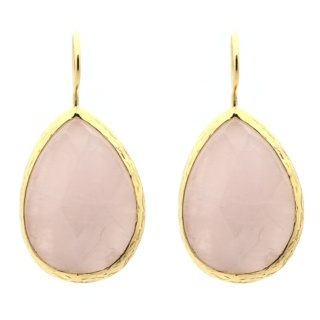Gold Plated Teardrop Opaque Rose Quartz Earrings