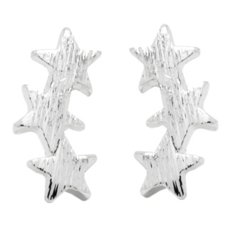 Trio Of Stars Silver Plated Star Earrings