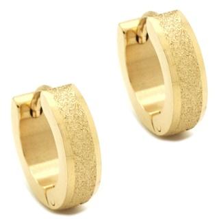 Gold Stainless Steel Sparkling Huggie Earrings