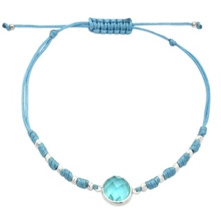 Turquoise Colour Silver Adjustable Bracelet