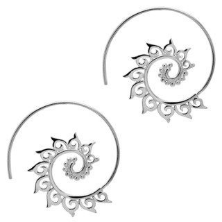 925 Silver Tribal Hoop Earrings