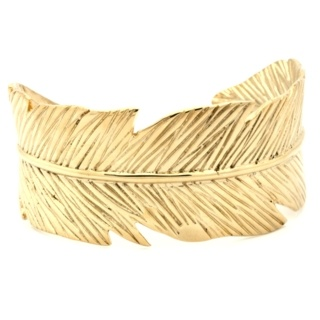Stainless Steel Gold Feather Cuff