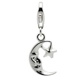 Silver Moon & Star Clip on Charm