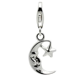 Silver Moon & Star Clip on Charm