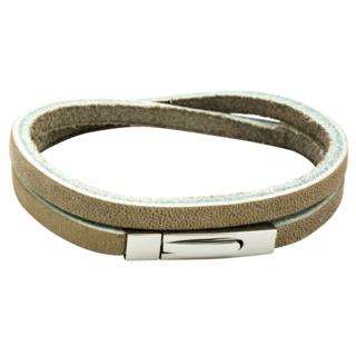 Tan Leather Double Wrap Rectangular Bracelet