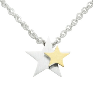 Silver & Gold Star Necklace