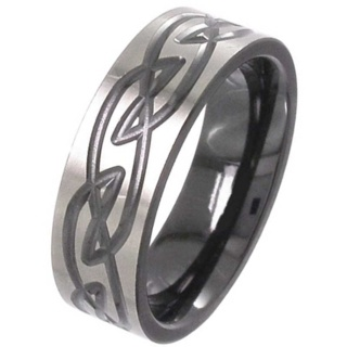 Two Tone Flat Profile Zirconium Celtic Ring
