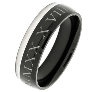 Personalised Two Tone Titanium Ring
