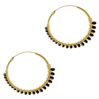 Gold Plated Black Agate Crystal Hoop Earrings