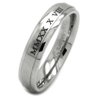 Customised Roman Numeral Stainless Steel Ring