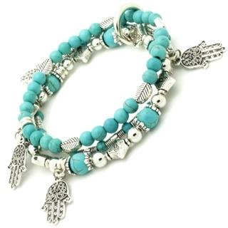 Triple Strand Hamsa Bead Bracelet