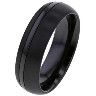 Dome Profile Black Zirconium Ring with Dual Finish