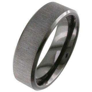 Flat Profile Black Zirconium Wedding Ring