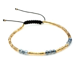 Handmade Yellow Topaz & Grey Faceted Crystal Adjustable Bracelet