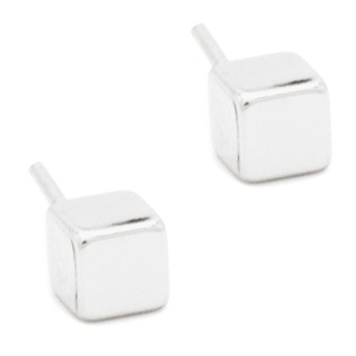 Mini Silver Plated Cube Earrings