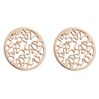 Rose Gold Steel Flower Design Circular Earrings