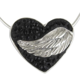 Silver Winged Black Crystal Embrace