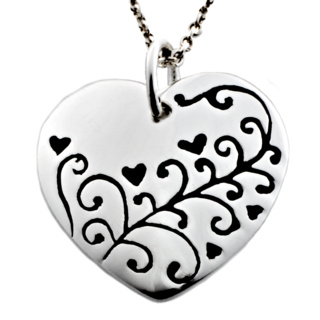 Polished Silver Heart with Floral Design Charm Necklace