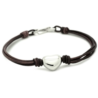 Brown Leather Heart Charm Bracelet