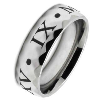 Personalised Faceted Roman Numeral Steel Ring