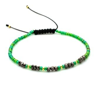 Handmade Emerald Green & Gold Plated Crystal Adjustable Bracelet