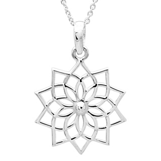 Polished 925 Silver Lotus necklace