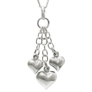 Falling Silver Hearts Necklace