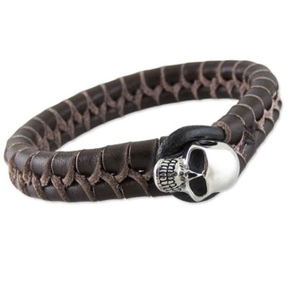 Chunky Brown Woven Leather Skull Bracelet