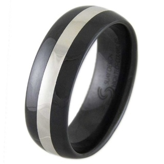 Thrill Silver & Black Ceramic Ring