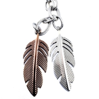 Flare Duo Steel Feather Necklace