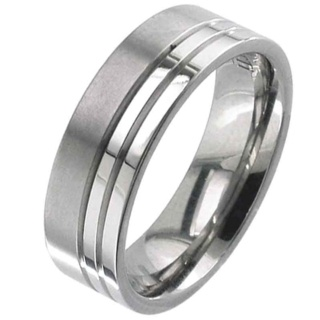 Twin Groove Flat Profiled Titanium Ring