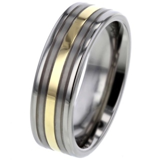 Gold Inlaid Titanium Ring