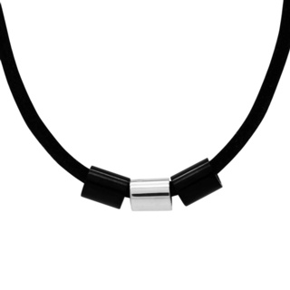 Soft Black Leather Necklace with Titanium & Silver Beads
