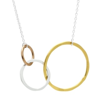 Gold, Rose Gold & Silver Interlinking Circle Necklace