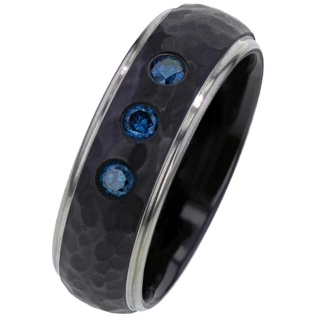 Blue Diamond Set Black Zirconium Wedding Ring