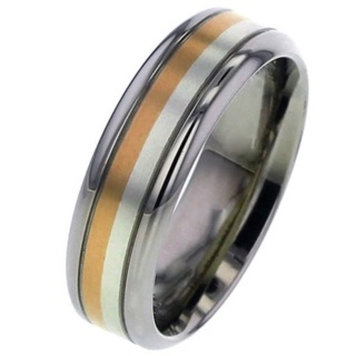 Titanium Wedding Ring with Inlaid White & Rose Gold
