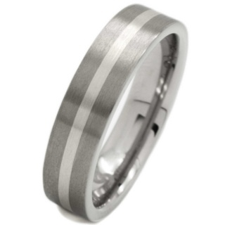 Brushed Titanium and Platinum Wedding Ring
