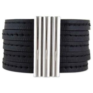 Vegas Black Leather Bracelet