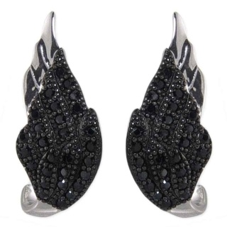 Winged Desire Black Pave Crystal Silver Earrings