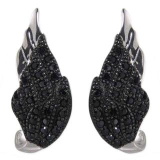 Winged Desire Black Pave Crystal Silver Earrings