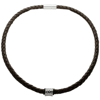 Woven Brown Leather Necklace with a Polished Indented Concave Titanium Bead