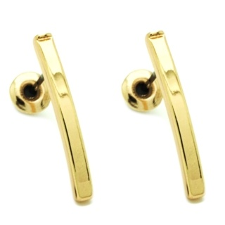 Gold Curved Bar Stud Earrings
