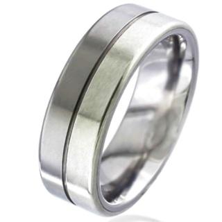 White Gold Inlaid Titanium Wedding Ring