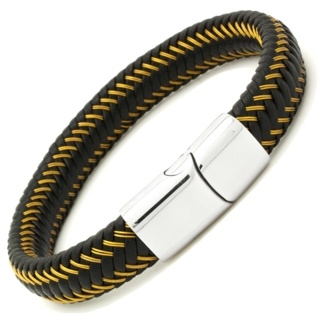 Woven Leather & Gold Wire Bracelet