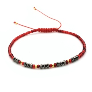 Handmade Red & Gold Plated Beaded Adjustable Bracelet