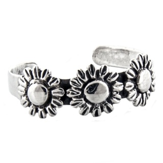 Polished Silver Sunflower Toe Ring
