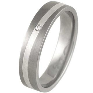 Swell Silver & Titanium Satin Diamond Ring