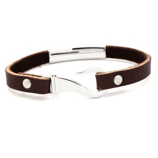 Tan Leather Bracelet with Steel Fish Hook Clasp