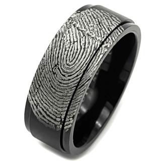 Black Stainless Steel Spinning Fingerprint Ring