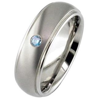 Two Tone Blue Diamond Set Titanium Wedding Ring
